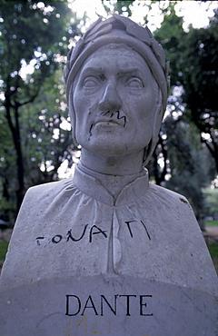 Italy, Rome, Pincio Gardens, Disrespectful Graffiti On Dante Bust