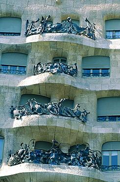 Spain, Catalonia, Barcelona, La Pedrera (Casa Mila) Built By Gaudi, Balconies