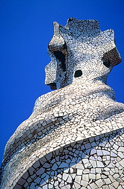 Spain, Catalonia, Barcelona, La Pedrera (Casa Mila) Built By Gaudi, The Main Chimney
