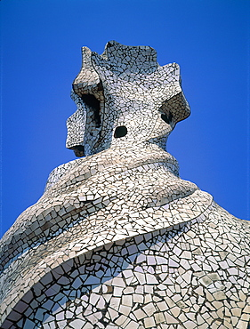 Spain, Catalonia, Barcelona, La Pedrera (Casa Mila) Built By Gaudi, The Main Chimney As A Modernist Sculpture