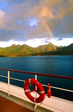 French Polynesia, Gastronomic Cruise On M/S Paul Gauguin, Rainbow Above Huahine Shoreline, Lifebelt At Fore