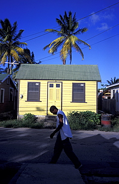 Caribbean, West Indies, Barbados, St Peter Parish, Fishermen Village Of Six Men's Bay, Colored Chattel House And Passer By