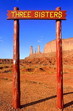 Usa, Utah, Navajo Reservation, Monument Valley, The Sacred Three Sisters Peaks,