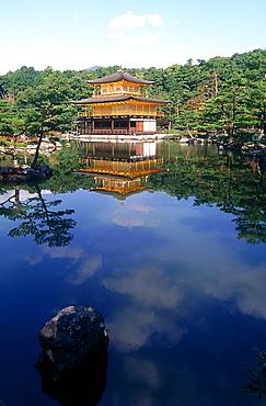 Japan, Kyoto, Kinka Ku Ji (Golden Pavilion) And Lake