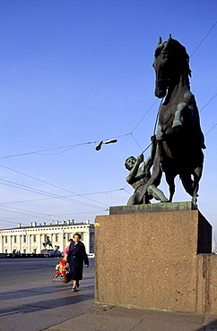 Russia, St-Petersburg, Anitchkov Bridge, The Horses Trainer By Sculptor Pierre Klodt