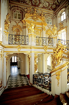 Russia, St-Petersburg, Pedrovorets, Peterhof Palace, The Monumental Staircase