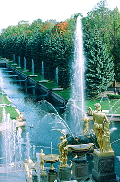 Russia, St-Petersburg, Pedrovorets, Peterhof Palace And Park, Goldened Statues Of The Great Waterfall, The Canal Leading To The Baltic Sea (Architect Leblond)