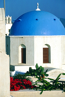 Greece, Cyclades, Santorini Island, Blue Dome On A Chapel, Cactus And Bougainvillea Flowers At Fore