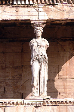 Greece, At Hens, Acropolis, The Caryatids Temple, Detail Of A Caryatid Bearing The Roof