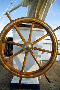 Ship's wheel on cruise ship, Southeast Asia, Asia