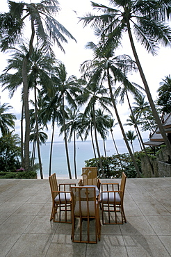 Table and chairs on terrace, Phuket, Thailand, Southeast Asia, Asia