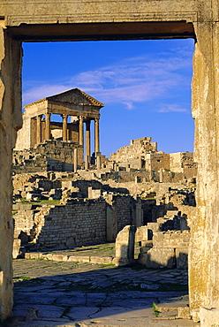 The Capitol, Dougga, Roman ruins, Tunisia, North Africa