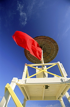 Red flag, no swimming warning, Bahamas, West Indies, Central America