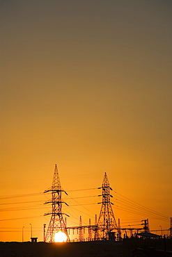 Electricity pylons, Egypt, North Africa, Africa