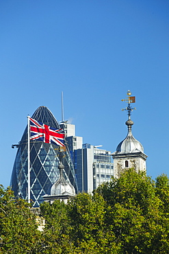 The Gherkin Building and Tower of London, London, England, United Kingdom, Europe