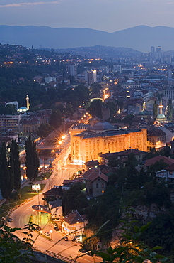 Night view of the city, Sarajevo, Bosnia, Bosnia-Herzegovina, Europe