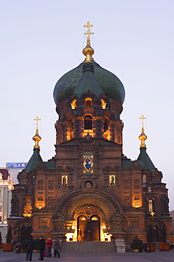 St. Sophia Russian Orthodox Church illuminated at night, built in 1907 in the Daoliqu area, Harbin, Heilongjiang Province, Northeast China, China, Asia