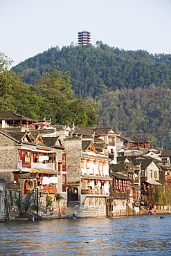 Hilltop pavilion overlooking the riverside old town of Fenghuang, Hunan Province, China, Asia