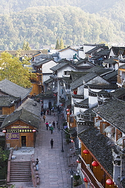 Wooden houses in the old town of Fenghuang, Hunan Province, China, Asia