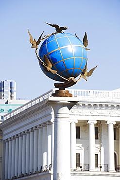Satue of a blue globe with doves of peace, Maidan Nezalezhnosti (Independence Square), Kiev, Ukraine, Europe