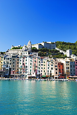 Waterfront pastel coloured houses, Porto Venere, Cinque Terre, UNESCO World Heritage Site, Liguria, Italy, Europe