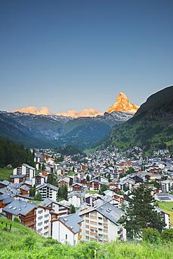 The Matterhorn, 4478m, and Zermatt, Valais, Swiss Alps, Switzerland, Europe