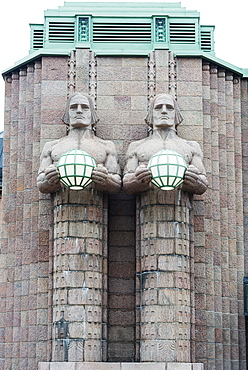 Art nouveau statues designed by Emil Wikstrom at Rautatieasema Train Station, Helsinki, Finland, Scandinavia, Europe
