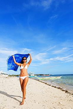 Girl on Bounty Beach, Malapascua Island, Cebu, The Visayas, Philippines, Southeast Asia, Asia