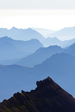 Mountain silhouette at dawn, Jungfrau-Aletsch, UNESCO World Heritage Site, Swiss Alps, Switzerland, Europe
