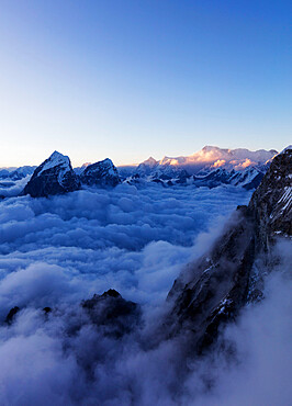 View of Toboche, 6495m, from Ama Dablam, Sagarmatha National Park, UNESCO World Heritage Site, Khumbu Valley, Nepal, Himalayas, Asia