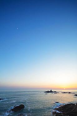 Corbiere Point Lighthouse, sunset, Jersey, Channel Islands, United Kingdom, Europe