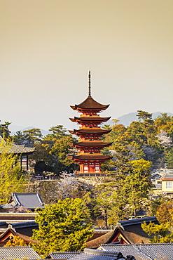 Komyoin five story pagoda, UNESCO World Heritage Site, Miyajima Island, Hiroshima Prefecture, Honshu, Japan, Asia