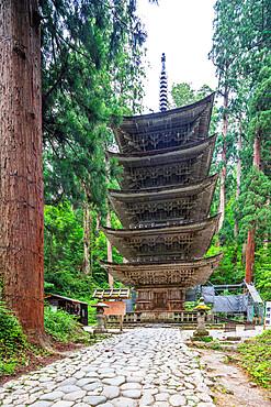 Five storey pagoda, Dewa sanzan Hagurosan temple, Yamagata Prefecture, Honshu, Japan, Asia