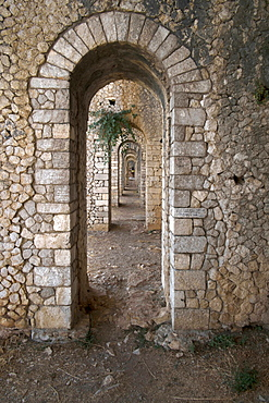 Basement arcades of the Temple of Anxur dedicated to the god Jupiter, 1st century AD, Terracina, Lazio, Italy, Europe