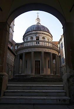 The Temple of San Pietro in Montorio, built on the very spot where Peter was crucified, by Donato Bramante, Rome, Lazio, Italy, Europe