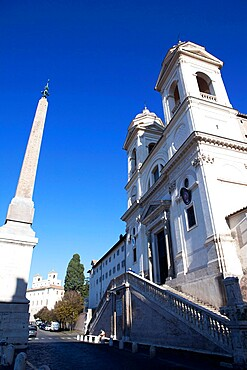 The Church of Trinite dei Monti at the top of the Spanish Steps, Rome, Lazio, Italy, Europe