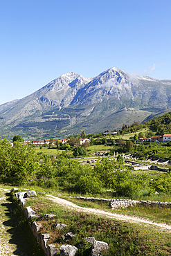 View of Alba Fucens with mout Velino as back ground