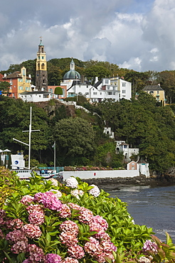Clock Tower, from the quayside, Portmeirion, Gwynedd, Wales. United Kingdom, Europe