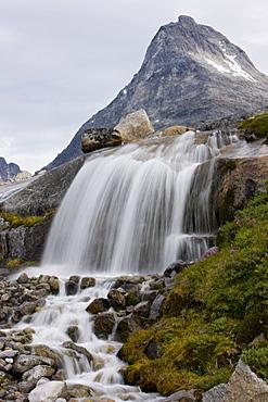 Waterfall, Prince Christian Sund, Greenland, Arctic, Polar Regions