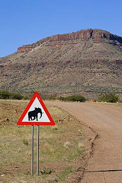 Caution road sign, Elephants crossing, Namibia, Africa