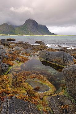 View looking towards Flakstad, Flakstadoya, Lofoten Islands, Norway, Scandinavia, Europe