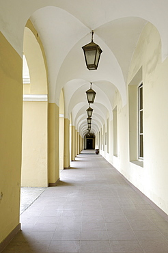 Courtyard cloisters in the university, Vilnius, Lithuania, Baltic States, Europe