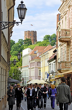 Pilies Gatve with the Old Castle in the background, Vilnius, Lithuania, Baltic States, Europe