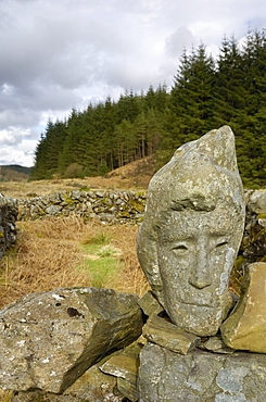Stone sculpture called Quorum, near Black Loch, Galloway Forest, Dumfries and Galloway, Scotland, United Kingdom, Europe