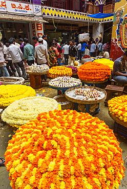 Flower market, Krishna Rajendra Market, Banaglore, Karnataka, India, South Asia