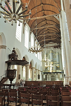 Interior, Oude Kirk (Old Church), Delft, Holland (The Netherlands), Europe