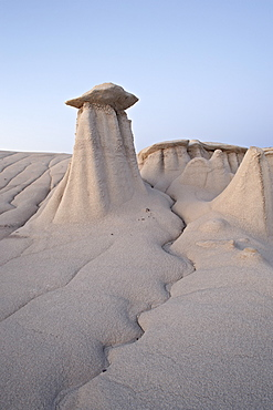 Hoodoo and erosion channel, Bisti Wilderness, New Mexico, United States of America, North America