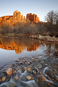 Cathedral Rock reflected in Oak Creek, Crescent Moon Picnic Area, Coconino National Forest, Arizona, United States of America, North America