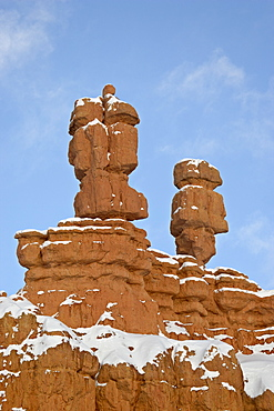 Red rock pillars with fresh snow, Red Canyon, Dixie National Forest, Utah, United States of America, North America