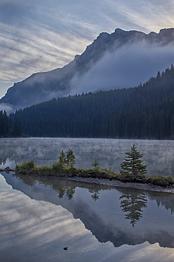 Two Jack Lake with fog, Banff National Park, UNESCO World Heritage Site, Alberta, Canada, North America
